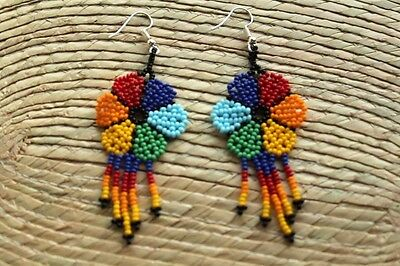 Unique Mexican Huichol Art Beaded Earrings- Jewelry Hand Made.FEB11