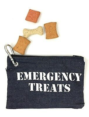 Emergency Dog Training Treats Denim Zip Pouch Belt Clasp Obedience Food Bag