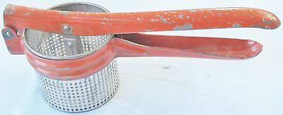 VINTAGE POTATO RICER MASHER KITCHEN UTENSIL HANDY THINGS 1950's RED METAL HANDLE