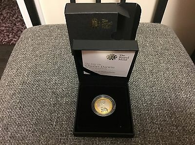 Royal Mint 2009 Silver Proof Two Pound Coin Charles Darwin Boxed