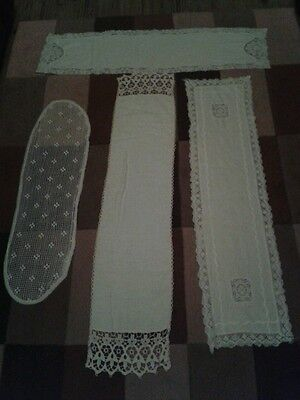Table/sideboard/dressing Table Runners. Vintage Selection Of 4