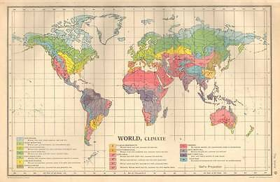 ANTIQUE MAP 1947 Bartholomew WORLD CLIMATE Gall's Projection