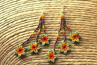 Unique Mexican Huichol Art Beaded Earrings- Jewelry Hand Made.FEB13