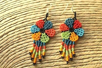 Unique Mexican Huichol Art Beaded Earrings- Jewelry Hand Made.FEB14