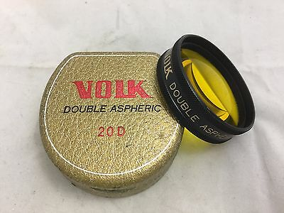 Volk Binocular Ophthalmoscopy Lens w/ Case -  Double Aspheric 20D - Yellow