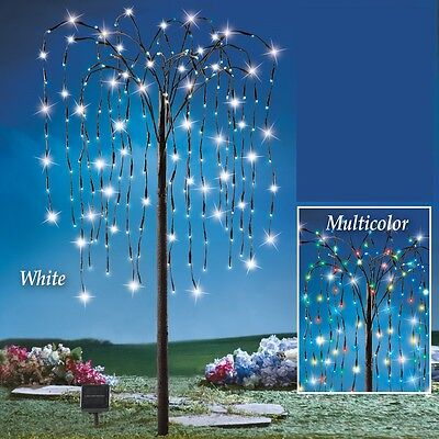 Solar 200 Multi-Colored LED Weeping Willow Branch Tree Christmas Yard Decoration