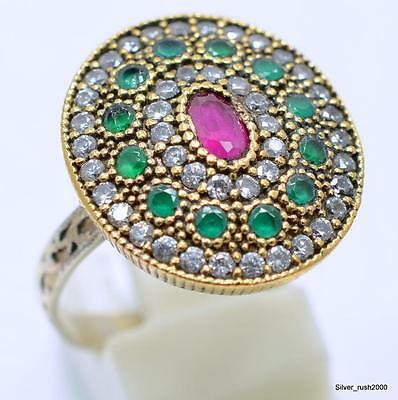 925 Sterling Silver Hurrem Turkish Handmade Jewelry Ruby Topaz Ring 8.5 IP2-32