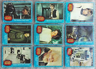 Set of Star Wars 1977 Topps Blue Trading Bubble Gum Cards 1-66
