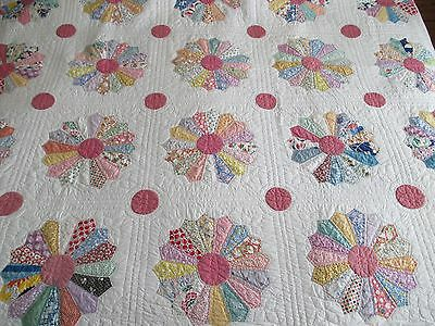 Vintage Quilt Hand Quilted Applique Dresden Plate  W Feed Sacks 1930's 82 X 82