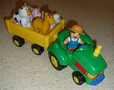 Old MacDonald Farm Tractor & Trailer Set from Kiddieland - song, animal noises