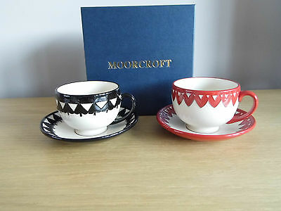 Moorcroft Pottery Playing Cards Cups And Saucers..perfect Boxed Rrp ***£280***