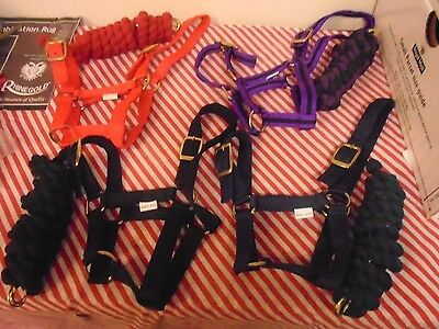 Head Collar And Lead Rope Sets New Shetland Size Red,black,navy,and Striped