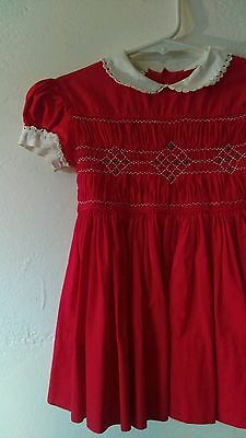 Vtg Red Polly Finders Dress Size 2/3 Vintage Baby Girl's Party Dress