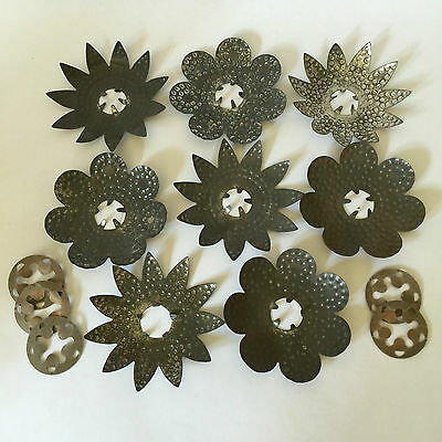 Vintage TIN Christmas light Reflectors Ornament Punched Textured Metal Flower