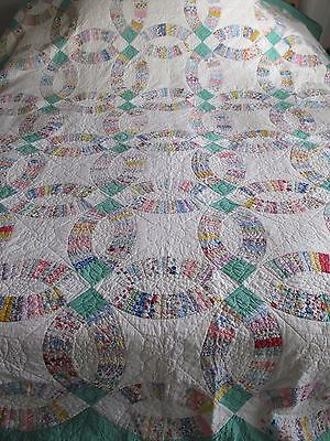 Vintage/antique Double Wedding Ring Quilt, Hand Quilted, 30's Feedsack 86 X 102