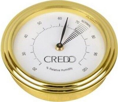 Credo Analogue Cigar Hygrometer - Round - Gold Colour Finish