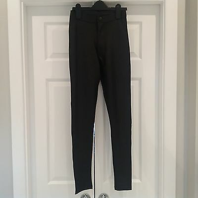 Asos Black Wet Look Stretch Skinny Tregging Trousers - Size 8L