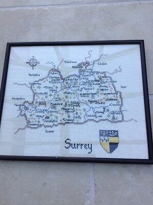 Embroidered Framed Britain In Stitches Completed  Map Of Surrey