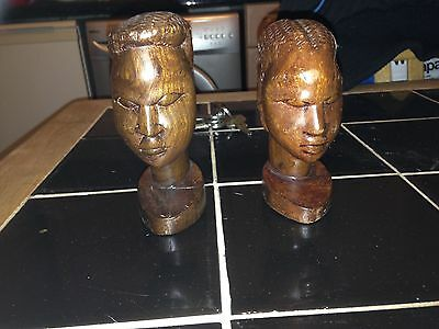 2 Hand Carved Wooden Figure Heads