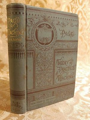 1885 Theory and Practice of Teaching by Page Fine Binding Antique Book