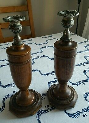 Fantastic pair of antique wooden 1940ish candlesticks
