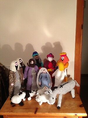 Hand knitted nativity scene including angel and donkey