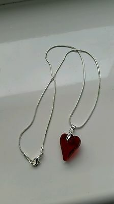 Silver Plated Crystal Red  Heart       Pendant  Chain Necklace