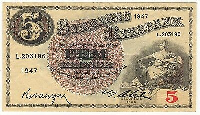 SWEDEN:  TWO (2) x 5 KRONOR  (1947)  (L 203196)