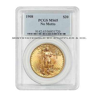 1908 $20 NM Saint Gaudens PCGS MS65 No Motto Gold Double Eagle Gem graded coin