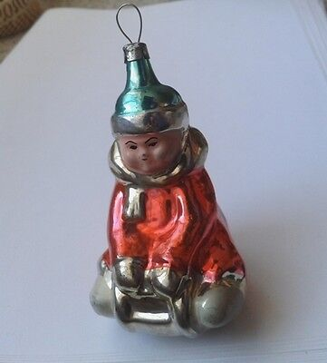 1960s Soviet Christmas ornament CHILD ON SLEDGE # 124