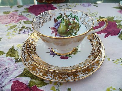 Pretty Vintage English  China Trio Tea cup Saucer Plate Fruit Gilded