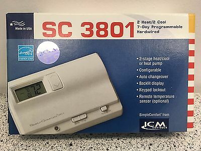 ICM SC3801 - SimpleComfort Programmable, 2H/2C or 2-Stage Heat Pump Thermostat