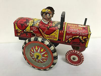 Rare 1950s Marx Toys Tin Wind Up Dipsy Car ~ Queen of the Campus Slave Quarters