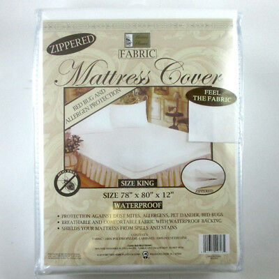 King Size Mattress Cover Zippered Fabric Protector Bed Dust Mite Bug Waterproof