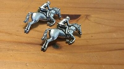 LOT of 2 HUNTER JUMPER HORSE Pin Broach PEWTER