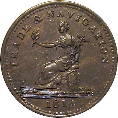1814 Nova Scotia Canada Penny Token Preferable To Paper Breton 962 Ex Newman