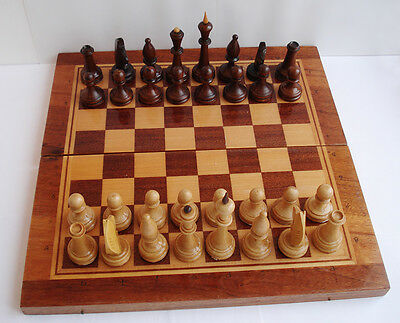WOODEN CHESS SET VINTAGE USSR RUSSIAN IN ORIGINAL WOODEN BOX 47 x 47 cm