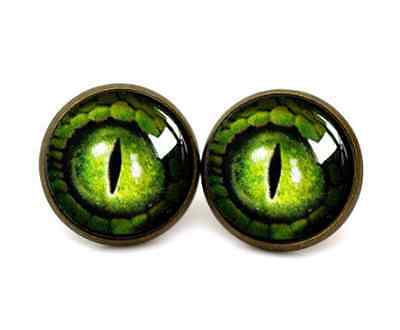 Glass Dome Cabochon Stud EARRINGS Gothic Steampunk Reptile Dragon Eyes Green