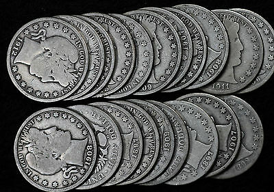 Collection of 20 Barber Half Dollars - 1897-1915 - see description for dates