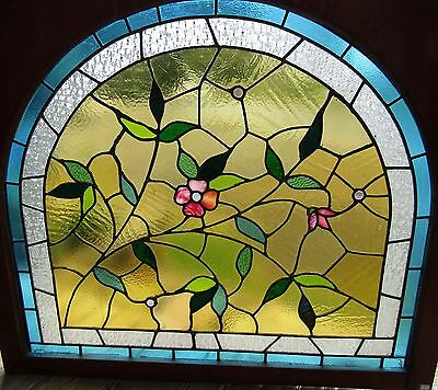 Antique Arch Top Floral Stained Glass Window