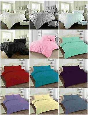 Alford / Pin Tuck  Duvet Cover with Pillowcase Quilt Cover Bedding Set All size