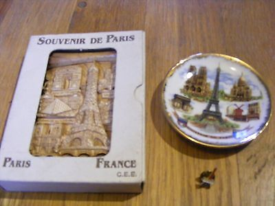 3 x PARIS Souvenir Plate / Ornament / Pin Badge