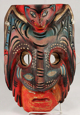 Vintage Mexican Wood Hanging Mask Folk Art Hand Crafted/Painted Collectible