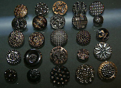 25 Antique Victorian Black Glass Buttons Silver and Gold Luster