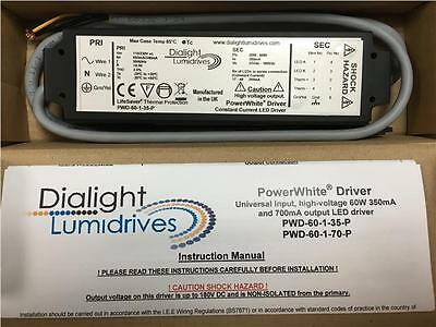 Dialight Lumidrives PWD-60-1-35-P Constant Current LED Driver 55-180V 60W 350mA