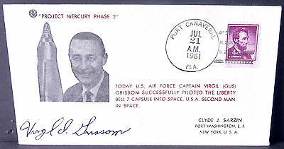 """1961 Event Cover PROJECT MERCURY FLIGHT - LIBERTY BELL 7 - VIRGIL """"GUS"""" GRISSOM"""