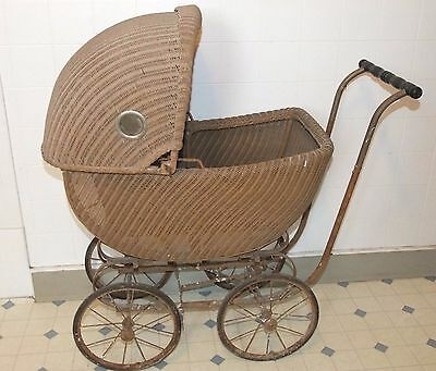 """Antique/Vintage WICKER BABY CARRIAGE, Buggy, Pram, Convertible, 34.5""""x 32""""x 16"""""""