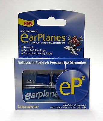 EarPlanes eP2 Reusable earplugs 1 pair - SAME DAY DISPATCH