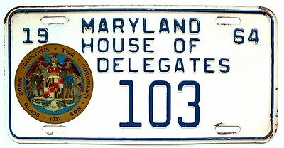 Rare Maryland 1964 House of Delegates License Plate Political State Government