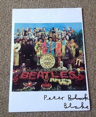 PETER BLAKE    SGT PEPPERS  - SIGNED COLOUR PRINT  - 10 x 8 Inches  AUTHENTIC